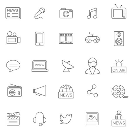 shere: Media line icons set.Vector Illustration