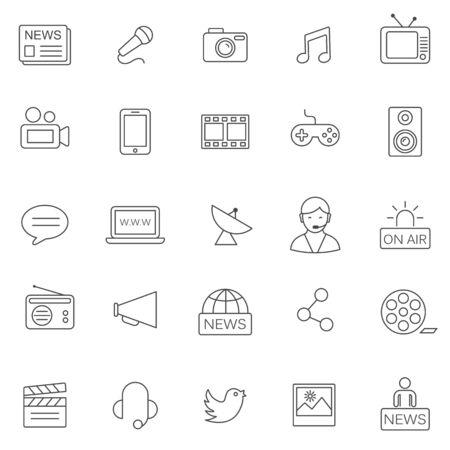Media line icons set.Vector Иллюстрация