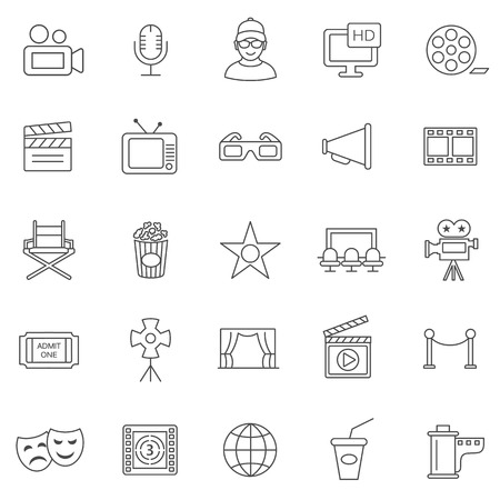 business roles: Movie line icons set.Vector