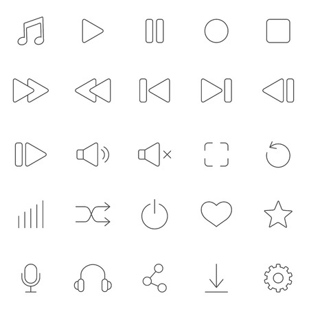 Media Player line Icons Set. Vector Vector