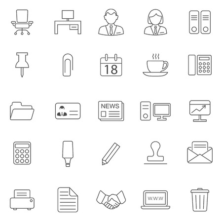 Office line icons set.Vector