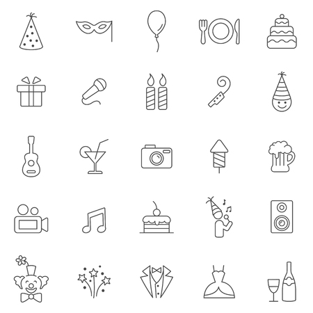 giftware: Party line icons set.Vector
