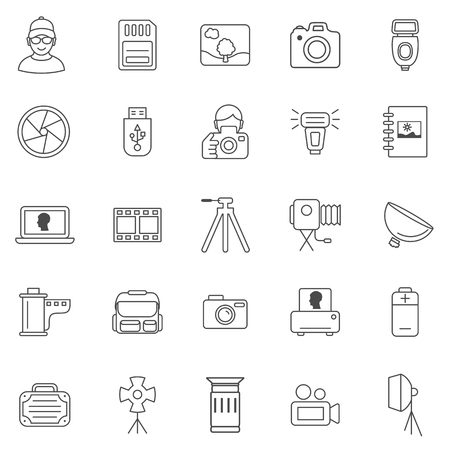 vector images: Photo line icons set.Vector