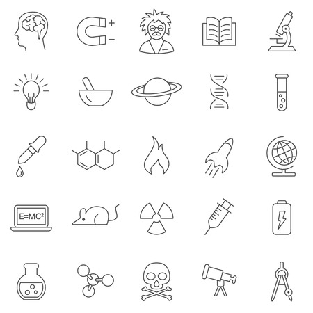 neutrons: Science line icons set.Vector Illustration