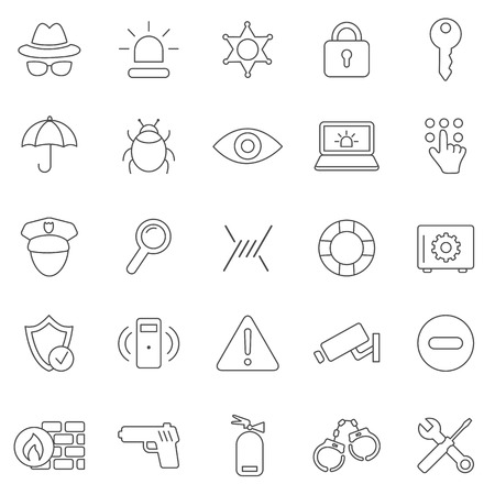 Security line icons set.Vector Vector