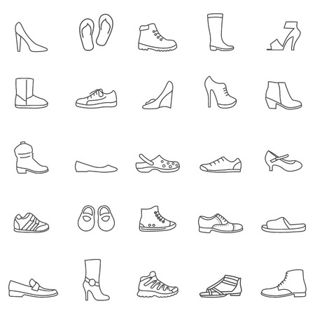 Shoes line icons set. Vector Vector