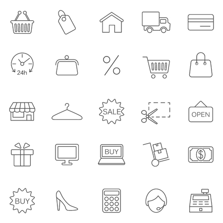 Shopping line icons set. Vector
