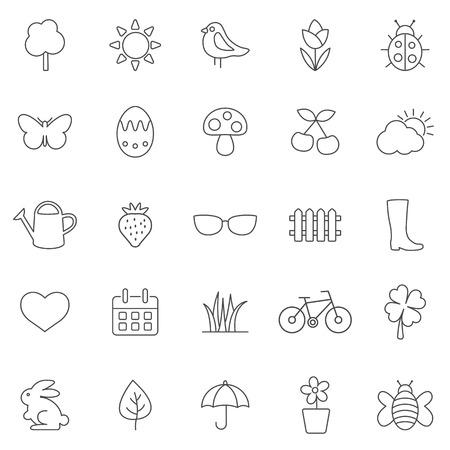 Spring line icons set.Vector Vector