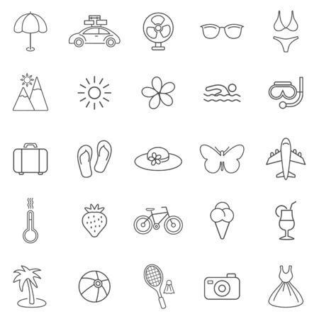 Summer line icons set.Vector