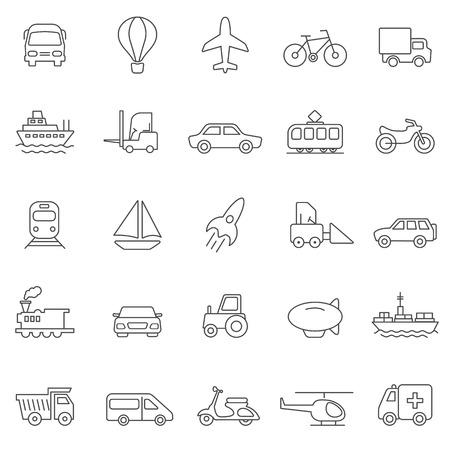 Transportation line icons set.Vector Vector