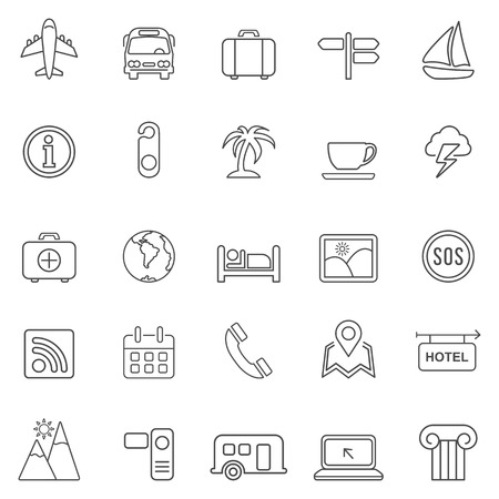 Travel line icons set.Vector