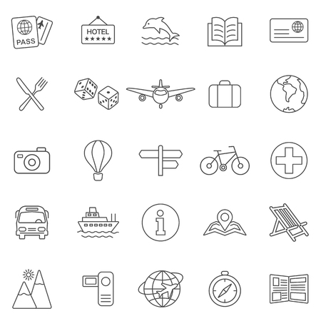 Vacation line icons set.Vector 向量圖像