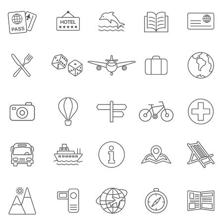 lugage: Vacation line icons set.Vector Illustration