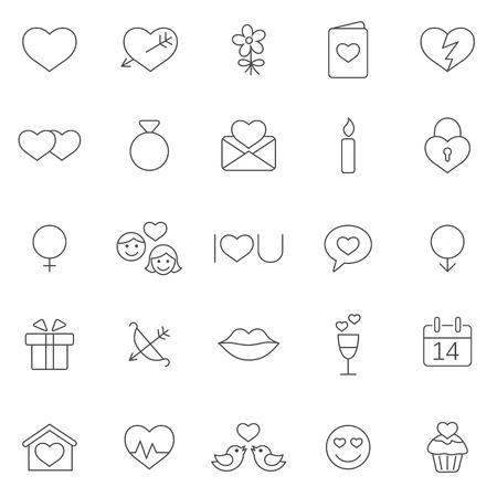 Valentine's Day icons set. Иллюстрация