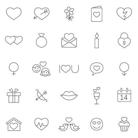 love declarations: Valentines Day icons set.