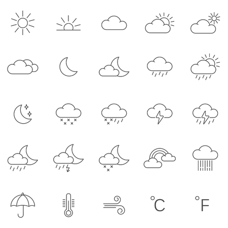 Weather line icons set.Vector Иллюстрация