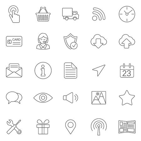 forward icon: Web line icons set.Vector