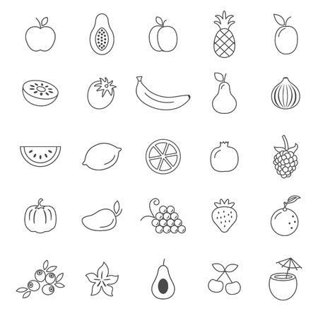 Fruit line icons set.Vector