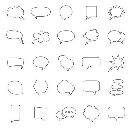 Speech bubble line icons set.Vector