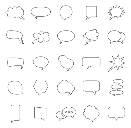 Speech bubble line icons set.Vector