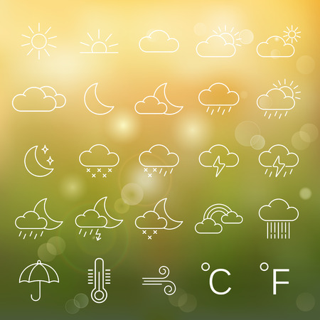 cloudy weather: Weather line icons set.Vector Illustration