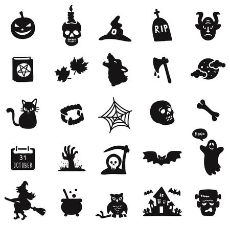 Halloween black icon set  on white background. Иллюстрация