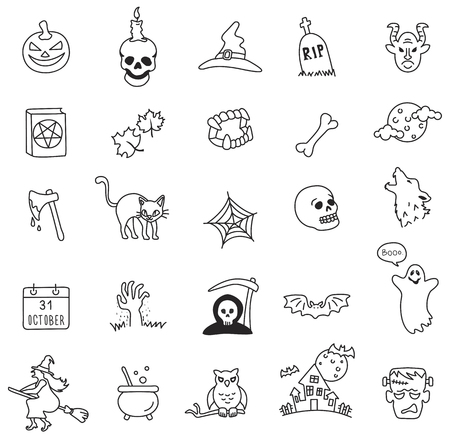 Halloween line icon set Иллюстрация