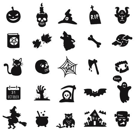Halloween black icon set