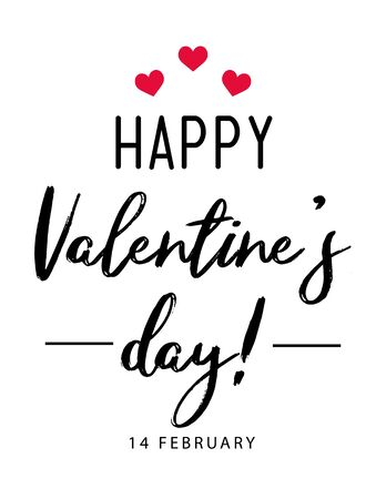 Happy Valentine's Day typography poster with handwritten calligraphy text, isolated on white background. Vector Illustration