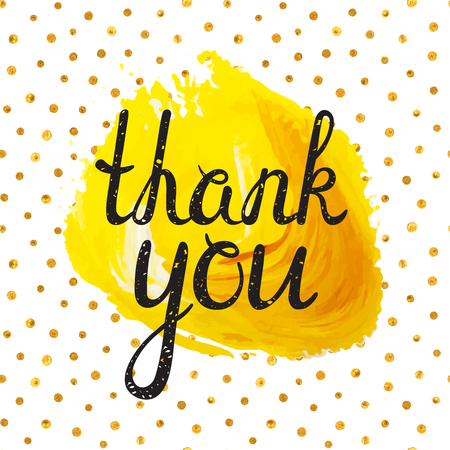 acryl: Thank you inscription on yellow acryl stain background and golden seamless pattern. Handwritten grunge letters. Can be used for flyer, banner, poster, card, postcard, label etc. Vector illustration.