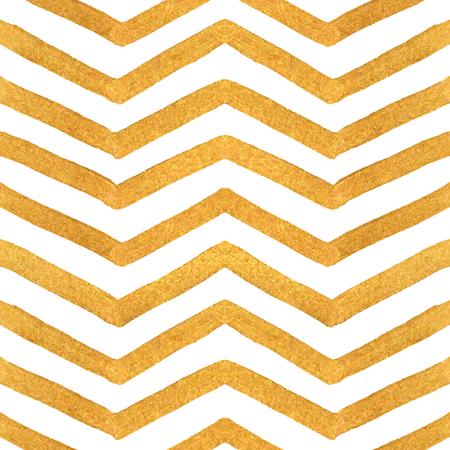Gold Textur nahtlose Zickzack-Muster von goldenen Streifen auf weißem Hintergrund. Design-Element für Banner, Karte, Cutaway, Einladung, Postkarte, Broschüre, Flyer. Vektor-Illustration. Standard-Bild - 48148910