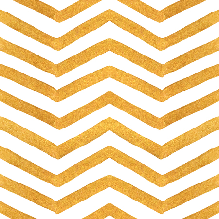 Gold texture seamless zigzag pattern of golden stripes on a white background. Design element for banner, card, cutaway, invitation, postcard, booklet, flyer. Vector illustration.