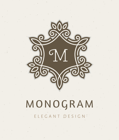 Elegant floral monogram  design template with letter M. Retro style lineart vector illustration for restaurant, boutique, hotel, heraldic, jewelry, fashion, business signs or banner, card, label.
