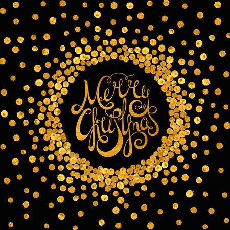 starfall: Gold handwritten calligraphic inscription Merry Christmas inscribed in a circle pattern of golden confetti. Design element for banner, card, invitation, label, postcard, vignette. Vector illustration.
