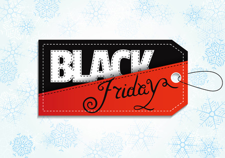 Black Friday sales tag on background with snowflakes. Sale label, sticker, banner design. Vector illustration.