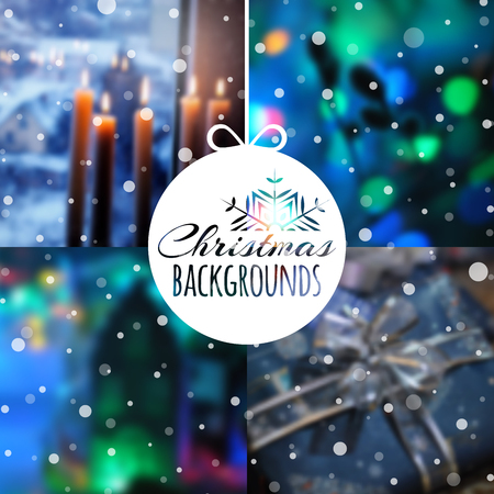 christmas backgrounds: Set of blurred vector Christmas or New Year backgrounds for your design. Vector illustration.