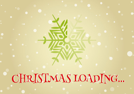 fun background: Christmas loader from snowflake and Christmas loading inscription. Original design element or template for banner, card, invitation, label, postcard, website, app and other. Vector illustration.