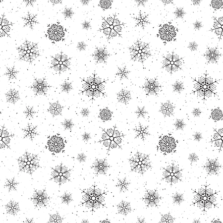 Monochrome seamless background of snowflakes. Grunge vector illustration. Vettoriali