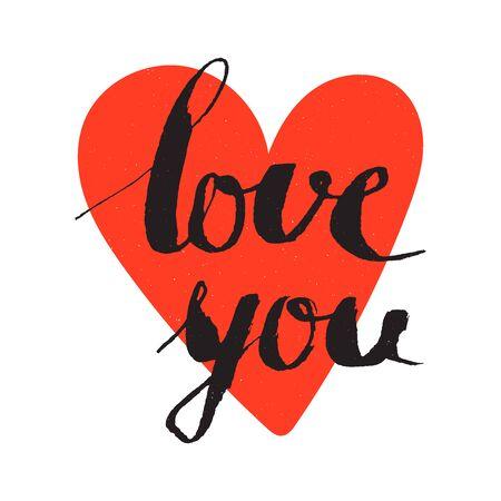 L'amore è scritta sullo sfondo di cuore rosso. lettering disegnato a mano di calligrafia per Valentines Day Card, t-shirt, cartoline, poster, salvare la scheda data. illustrazione vettoriale isolato.