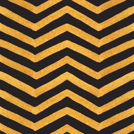 gold textured background: Gold textured seamless zigzag pattern of golden stripes on a black background. Design element for banner, card, cutaway, invitation, postcard, booklet, flyer. Vector illustration. Illustration