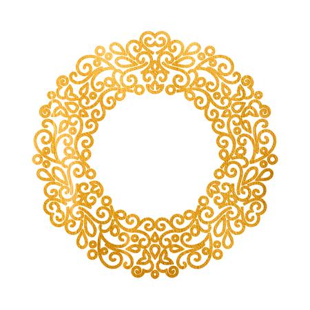 oriental vector: Elegant luxury retro golden floral round frame. Design template for banner, card, invitation, label, emblem etc. Monogram identity, business sign, logo design. Lineart vintage vector illustration.