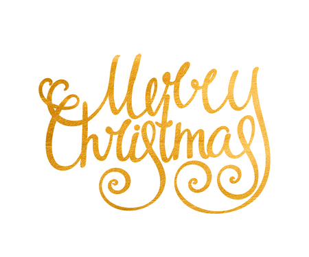 merry christmas: Gold textured handwritten calligraphic inscription Merry Christmas. Design element for festive banner, card, invitation, label, postcard, template, vignette etc. Vector illustration. Illustration