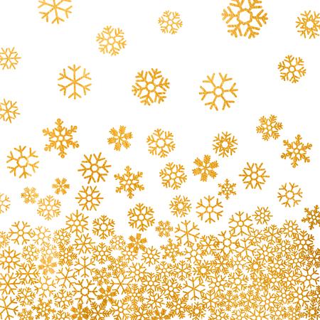 schneeflocke: Abstrakte Muster der goldenen Schneeflocken fallen auf wei�em Hintergrund. Elegantes Muster f�r Weihnachten oder Neujahr Hintergrund, festliche Banner, Karte, Einladung, Postkarte. Vektor-Illustration.