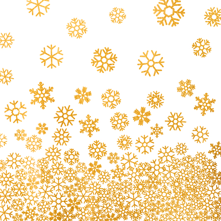 Abstract pattern of falling golden snowflakes on white background. Elegant pattern for Christmas or New year background, festive banner, card, invitation, postcard. Vector illustration.