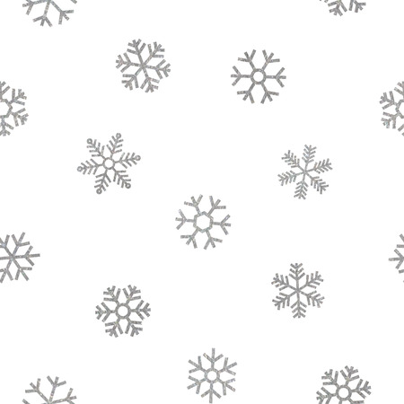 Seamless pattern of falling silver snowflakes on white background. Elegant pattern for Christmas or New year background, festive banner, card, invitation, postcard. Vector illustration.
