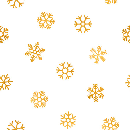 Seamless pattern of falling golden snowflakes on white background. Elegant pattern for Christmas or New year background, festive banner, card, invitation, postcard. Vector illustration. Vettoriali