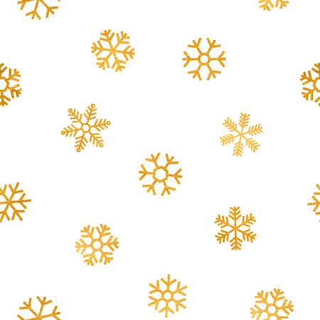navidad elegante: sin patr�n de ca�da de los copos de nieve de oro sobre fondo blanco. Modelo elegante para la Navidad o fondo de a�o nuevo, bandera festivo, tarjeta, invitaci�n, tarjeta postal. Ilustraci�n del vector.