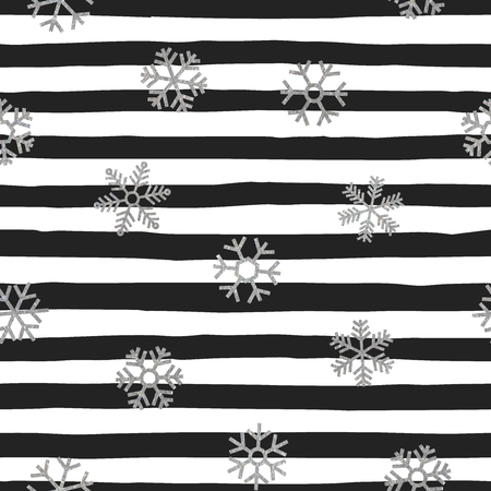 wrapping paper: Seamless pattern of falling silver snowflakes on trendy background of white and black stripes. Elegant pattern for Christmas background, banner, card, invitation, postcard. Vector illustration. Illustration