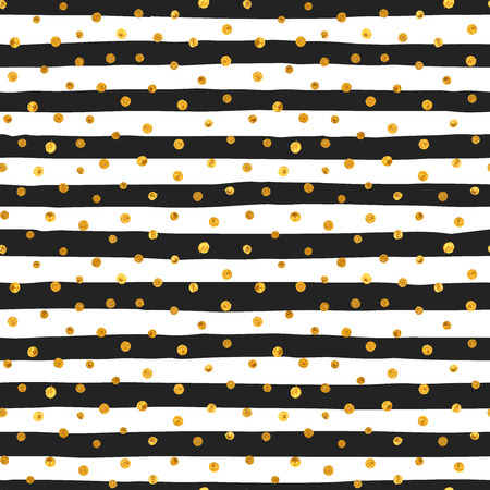 Seamless pattern of random gold dots on trendy background of white and black stripes. Elegant pattern for background, textile, paper packaging and other design. Vector illustration. Vectores