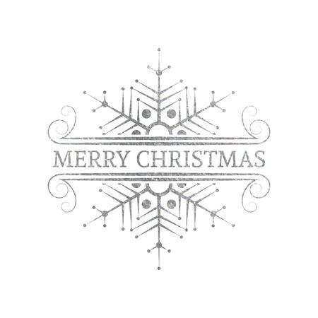 metalic design: Decorative silver textured Christmas design element. Typographic vintage Christmas label, frame, border, badge and logo. Vector illustration for Christmas banner, invitation, postcard, card, vignette.